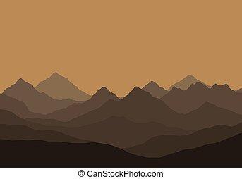 矢量, 描述, 在中, a, 山地形