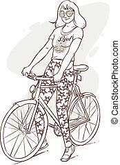 矢量, 描述, 在中, a, 美丽, 女孩, 摆脱自行车