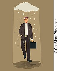 矢量, 描述, 工人, 套间, 人, 悲哀, concept., 图表, 运气, rain., 在下面, 设计, 性格, 坏, 卡通漫画, 办公室