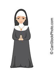 矢量, 插圖, ......的, 修女