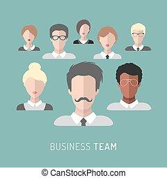 矢量, 插圖, ......的, 商業組, 管理, 在, 套間, style.
