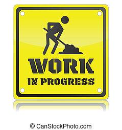 矢量, 插圖, ......的, 單個, 被隔离, 工作, 在, 進展, 圖象