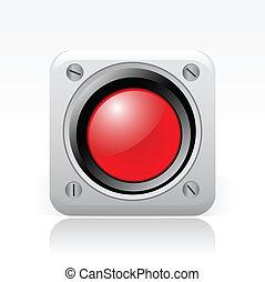 矢量, 插圖, ......的, 單個, 被隔离, 紅色, 信號, 圖象