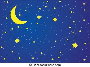 矢量, 插圖, ......的, 夜晚, sky.