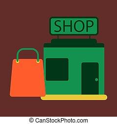 矢量, 插圖, ......的, 套間, 圖象, 商店, 包裹