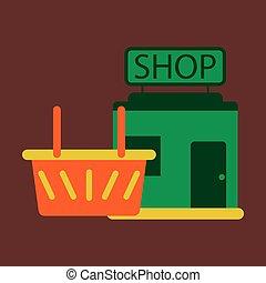 矢量, 插圖, ......的, 套間, 圖象, 商店, 籃子
