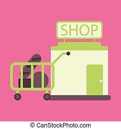矢量, 插圖, ......的, 套間, 圖象, 商店, 車, 由于, 食物