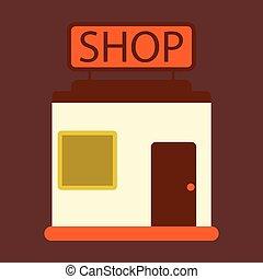 矢量, 插圖, ......的, 套間, 圖象, 商店