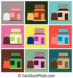 矢量, 插圖, ......的, 套間, 圖象, 集合, 商店, 包裹