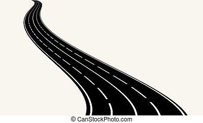 矢量, 插圖, ......的, 彎曲, road.