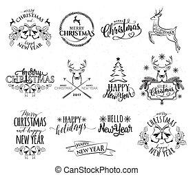 矢量, 插圖, ......的, 歡樂的聖誕節, 以及, 新年快樂, 集合