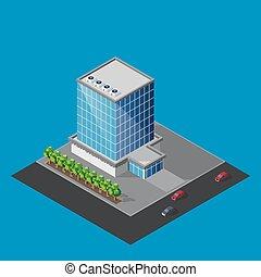 矢量, 插圖, ......的, 等量, 商業中心, 建築物