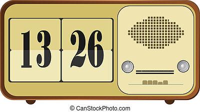 矢量, 插圖, ......的, 老, 鐘收音机