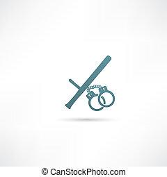 矢量, 插圖, ......的, 被隔离, 現代, 警察, icon.