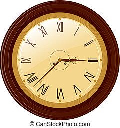 矢量, 插圖, ......的, 輪, 鐘, 由于, 羅馬數字
