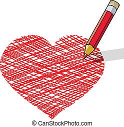 矢量, 插圖, ......的, 鉛筆, 畫, a, 心