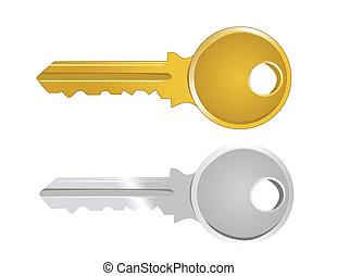 矢量, 插圖, ......的, 鑰匙