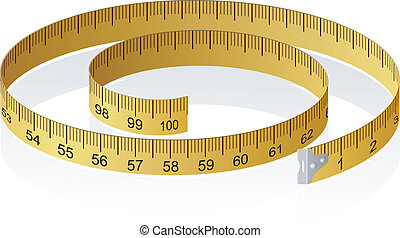 矢量, 插圖, ......的, a, 測量磁帶, 由于, 反映