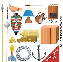 矢量, 插圖, ......的, a, 集合, ......的, objects., eps10