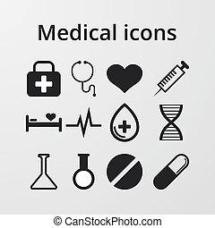 矢量, 插圖, ......的, a, 集合, 醫學圖象
