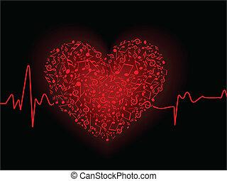 矢量, 插圖, ......的, a, 音樂, 心, 在, 紅色, 上色, 由于, 心跳, 上, 黑色的背景, 為,...