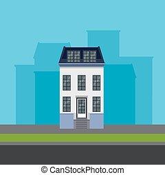 矢量, 插圖, ......的, townhouse, 在, 套間, polygonal, 風格