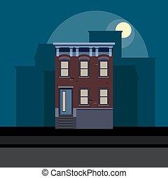 矢量, 插圖, ......的, townhouse, 在, 套間, polygonal, style., 夜晚, 都市風景