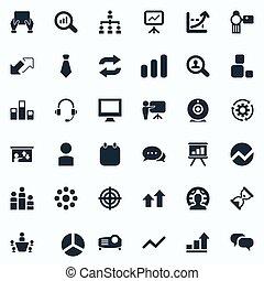 矢量, 插圖, 集合, ......的, 簡單, 訓練, icons., 元素, 片劑, 搜尋, 放大器, 以及,...