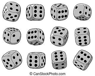 矢量, 插圖, -, 骰子, 集合