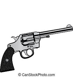 矢量, 插圖, a, 手槍