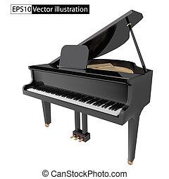 矢量, 插圖, gand, 鋼琴, 被隔离, 在懷特上, 背景