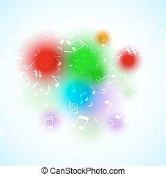 矢量, 摘要, 音樂, 筆記。, 鮮艷, 音樂, 背景