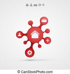 矢量, 摘要, infographic, 設計, 背景, 紅色