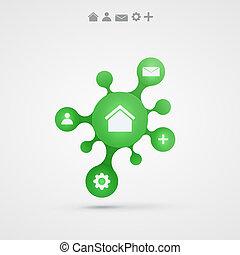 矢量, 摘要, infographic, 設計, 背景, 綠色