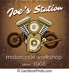 矢量, 摩托車, 修理商店, 海報