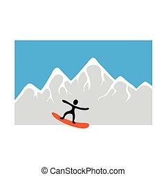 矢量, 擋雪板, freeride, 雪白的山, 插圖