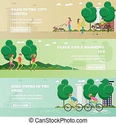 矢量, 放置, 在中, 在中的人们, 公园, 概念, banners., 跑, 出去, 狗, cycling.
