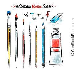 矢量, 放置, 在中, 艺术, tools.
