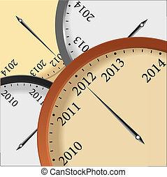 矢量, 新年, 鐘