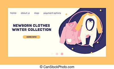 矢量, 時裝, 購物, 冬天, 衣服, 背景, 彙整, bodysuit, 新生, 衣服, 孩子, 設計, 插圖, web-site, 孩子, 嬰孩衣服, 衣服, 孩子, 背景, 做廣告