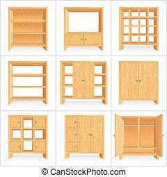 矢量, 木制, 衣櫃, 內閣, 書架