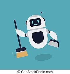矢量, 机器人, 描述, 吉祥人, 套间, 打扫