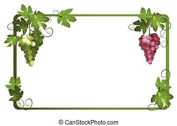 矢量, 框架, 由于, 成熟, 葡萄