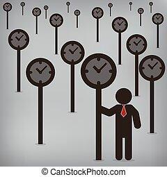 矢量, 概念, 插圖, 控制, 表達, 時間, 商人