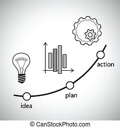 矢量, 概念, illustration., 想法, 計劃, 以及, 行動