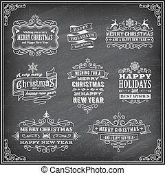 矢量, 標籤, chalboard, 聖誕節