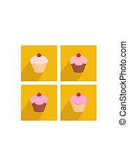 矢量, 櫻桃, cupcake, 套間, 圖象