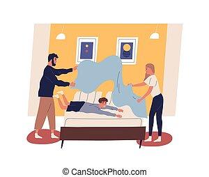 矢量, 每日, 国内, 日常事务, 发生地点, 父亲, 妈妈, 一起。, 顽皮, 卡通漫画, 家务劳动, 或者, 白色, 隔离, 做, 孩子, duties., 家庭, 套间, 描述, 开心, kid., 床