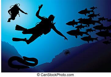 矢量, 水下呼吸器, 鮮艷, 潛水者
