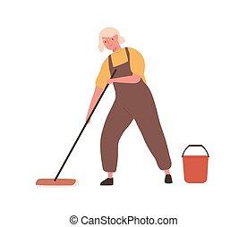 矢量, 水桶, 卡通漫画, 办公室, 套间, 洗涤, 专业人员, 制服, housework., 白色, 扫荡, 描述, 年长, 服务, floor., 打扫, 隔离, 看门人, 快乐, 妇女, 背景